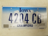 Iowa Crawford County License Plate 4204 CB