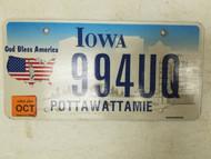 2006 Iowa Pottawattamie County God Bless America License Plate 994UQ