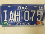 1986 (1987 Tag) Iowa Antique License Plate IAH 075