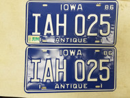 1986 Iowa Antique License Plate IAH 025 Pair