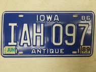 1986 (1989 Tag) Iowa Antique License Plate IAH 097