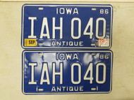 1986 (1992 Tag) Iowa Antique License Plate IAH 040 Pair