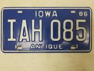 1986 Iowa Antique License Plate IAH 085
