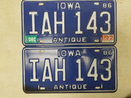 1986 (1992 Tag) Iowa Antique License Plate IAH 143 Pair