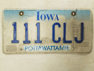 Iowa Pottawattamie County License Plate 111 CLJ Triple One