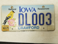 2007 Iowa Crawford County Natural Resources Dealer License Plate DL003