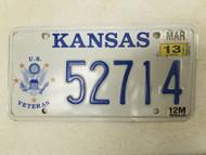 2013 Kansas U.S. Veteran License Plate 52714