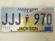 2011 Mississippi Jackson County License Plate JJJ 970 Triple J
