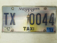 2011 Mississippi Taxi License Plate TX 0044