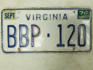 1975 Virginia License Plate BBP-120