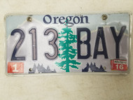 2016 Oregon License Plate 213 BAY