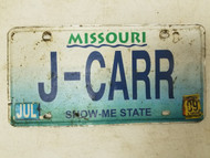 2009 Missouri Show Me State License Plate J-CARR