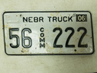 2006 Nebraska Commercial Truck License Plate 56 222 Triple Two