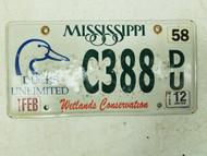 2015 Mississippi Wetlands Conservation Ducks Unlimited License Plate C388