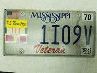 2015 Mississippi Marine Corps Vietnam Veteran License Plate 1I09V