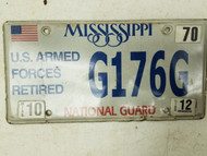 2012 Mississippi U.S. Armed Forces Retired National Guard License Plate G176G