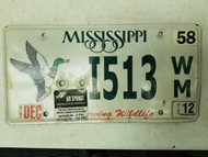 2012 Mississippi Conserving Wildlife Duck License Plate I513