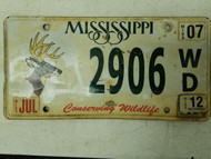 2012 Mississippi Conserving Wildlife Deer License Plate 2906