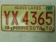 1970 (1971 Tag) Minnesota 10,000 Lakes License Plate YX 4365