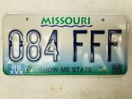 1998 Missouri Show Me State License Plate 084 FFF Triple F