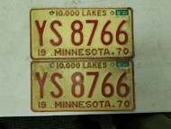1970 (1971 Tag) Minnesota 10,000 Lakes License Plate YS 8766 Pair