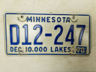 1978 Minnesota Dealer 10,000 Lakes Plate D12-247