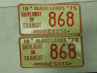 1975 Minnesota Driveway In Transit 10,000 Lakes Plate 868 Pair