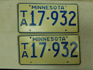 Minnesota License Plate 17-932 Pair