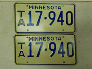 Minnesota License Plate 17-940 Pair