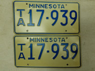 Minnesota License Plate 17-939 Pair