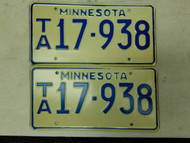 Minnesota License Plate 17-938 Pair