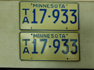 Minnesota License Plate 17-933 Pair