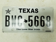Texas Lone Star State License Plate BWC-5668