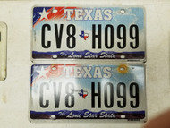 Texas Lone Star State License Plate CV8-H099 Pair
