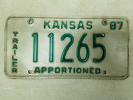 1987 Kansas Apportioned Trailer License Plate 11265