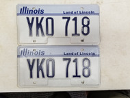 Illinois Land of Lincoln License Plate YKO 718 Pair