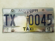 2012 Mississippi Taxi License Plate TX 0045