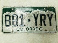 Colorado License Plate 881-YRY