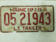 1984 Maine Trailer License Plate 05 21943