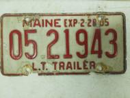 1984 Maine Trailer License Plate 05 21943