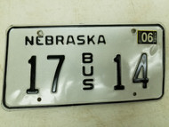 2006 Nebraska Bus License Plate 17 14