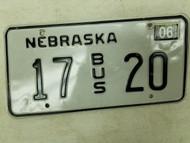 2004 Nebraska Bus License Plate 17 20