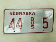Nebraska Bus License Plate 44 5