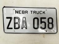 Nebraska Truck License Plate ZBA 058 (2)