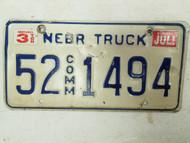 1995 Nebraska Commercial Truck License Plate 52 1494