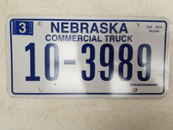 2006 Nebraska Commercial Truck License Plate 10-3989