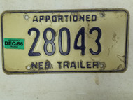 1986 Nebraska Apportioned Trailer License Plate 28043
