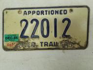 1986 Nebraska Apportioned Trailer License Plate 22012