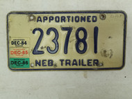 1986 Nebraska Apportioned Trailer License Plate 23781