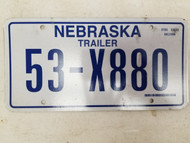 1986 Nebraska Trailer License Plate 53-X880